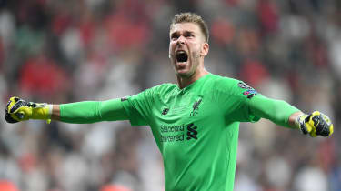 Liverpool goalkeeper Adrian celebrates after winning the Uefa Super Cup