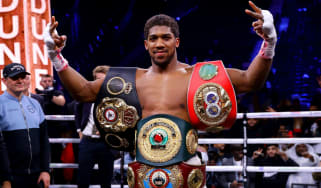 Anthony Joshua celebrates his victory in the rematch against Andy Ruiz Jr in Saudi Arabia