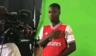 Nicolas Pepe has been pictured wearing an Arsenal shirt ahead of his transfer to the Gunners
