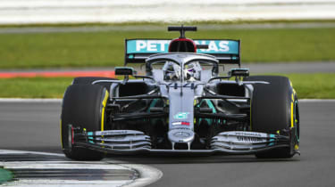 Lewis Hamilton drives the Mercedes W11 at Silverstone