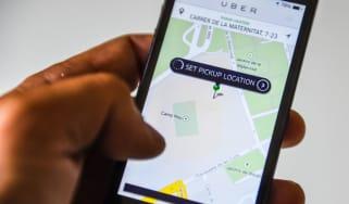Mobile phone using Uber app