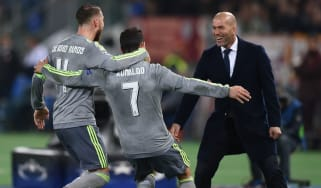 Sergio Ramos and Cristiano Ronaldo celebrate with Zinedine Zidane