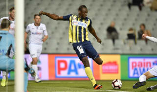 Usain Bolt in action during his trial spell at A-League club Central Coast Mariners