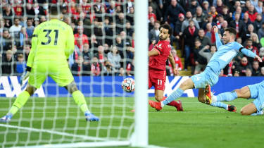 Mohamed Salah scored Liverpool's second goal in the 2-2 draw with Manchester City