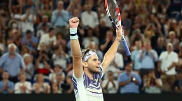 Dominic Thiem celebrates his semi-final victory over Alexander Zverev