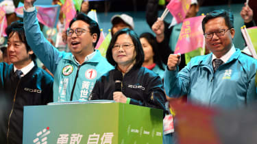 TAOYUAN, TAIWAN - JANUARY 08: Taiwan's current president and Democratic Progressive Party presidential candidate, Tsai Ing-wen, speaks during a rally ahead of Saturdays presidential election