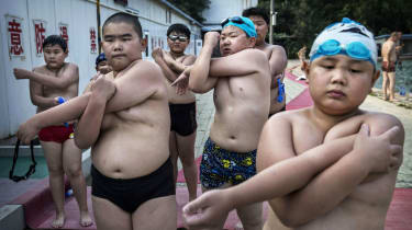 Overweight Chinese students at a fitness camp near Beijing