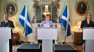 Nicola Sturgeon holds a media briefing with Scottish Greens co-leaders Patrick Harvie and Lorna Slater at Bute House on 20 August 2021 in Edinburgh