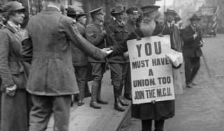 A sandwich-man recruiting members for the MCU during the 1919 railway strike