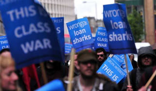 A protest against Wonga in London in 2014