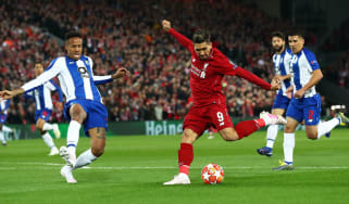 Liverpool striker Roberto Firmino in action against FC Porto in the Champions League quarter-final first leg at Anfield