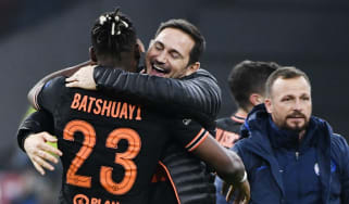 Chelsea goalscorer Michy Batshuayi is congratulated by manager Frank Lampard