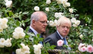 Boris Johnson and Australia's Prime Minister Scott Morrison in rose garden