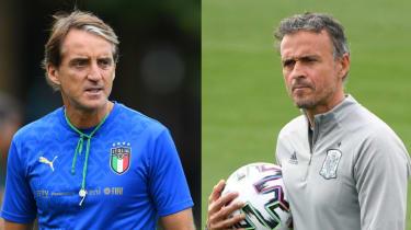 Italy head coach Roberto Mancini and Spain head coach Luis Enrique