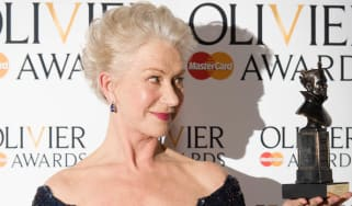 British actress Helen Mirren poses with her award for best actress during the Lawrence Olivier Awards for theatre at the Royal Opera House in London on April 28, 2013. AFP PHOTO / LEON NEAL(P