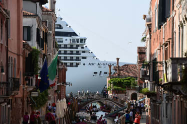 MSC Magnifica from one of the canals leading into the Venice Lagoon