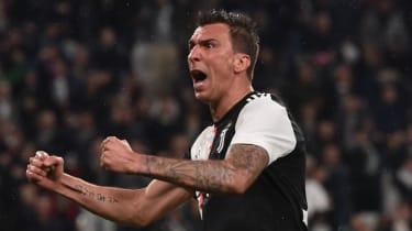 Croatian striker Mario Mandzukic celebrates scoring a goal for Juventus