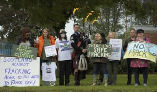 Anti-fracking protesters in Scotland