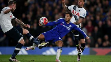 Eden Hazard of Chelsea in action against Spurs