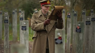 Historian Paul Thompson at the National Memorial Arboretum reads the general's letter describing the Christmas Day Truce