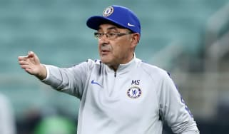 Maurizio Sarri oversees Chelsea's final training session for the Europa League final against Arsenal