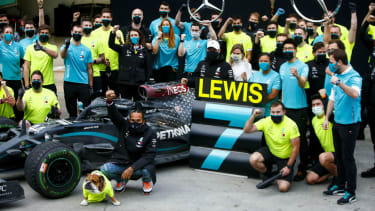 Lewis Hamilton and the Mercedes team celebrate another title double