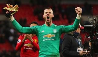 David de Gea celebrates Manchester United's victory against Tottenham at Wembley