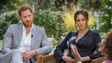 Harry and Meghan during their interview with Oprah Winfrey