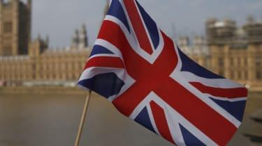 Union Jack flies before Parliament