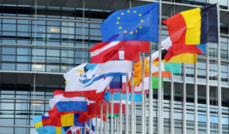 Flags outside European Parliament