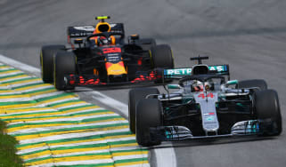 Mercedes driver Lewis Hamilton and Red Bull's Max Verstappen at the 2018 Brazilian GP