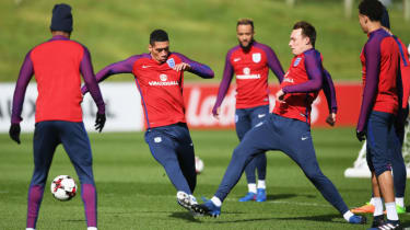 Chris Smalling and Phil Jones in England training