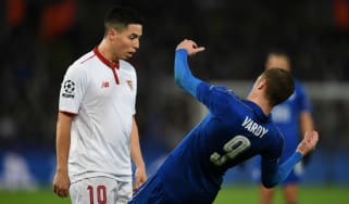 Leicester City's Jamie Vardy and Samir Nasri of Sevilla