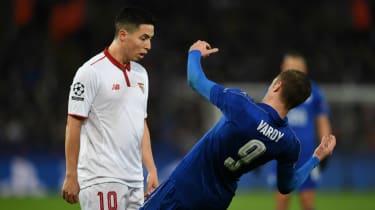 Leicester City's Jamie Vardy and Samir Nasri of Sevilla