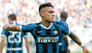 Inter Milan forward Lautaro Martinez celebrates scoring against Cagliari in Serie A