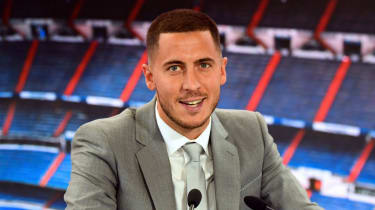 Eden Hazard speaks during his official presentation as a Real Madrid player