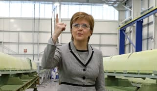 Scottish First Minister Nicola Sturgeon visits an aerospace factory in Prestwick