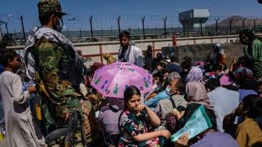 Civilians waiting outside Kabul airport last week