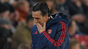 Arsenal head coach Unai Emery reacts during the 1-0 loss at Sheffield United on 21 October