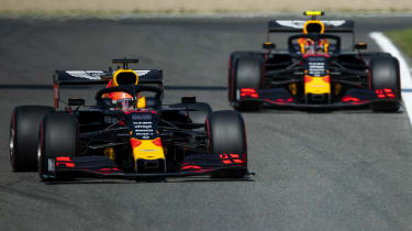 Red Bull Racing drivers Max Verstappen and Alex Albon