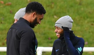 England internationals Joe Gomez and Raheem Sterling train at St George's Park