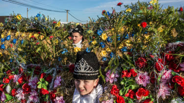 KRASNOILSK, UKRAINE - JANUARY 14: Villagers celebrate the winter festival of Malanka on January 14, 2015 in Krasnoilsk, Ukraine. The holiday, which involves dressing in elaborate costumes and