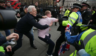 Pro-Brexit protestors scuffle with the police during a demonstration in central London on January 12, 2019. (Photo by Daniel LEAL-OLIVAS / AFP)(Photo credit should read DANIEL LEAL-OLIVAS/AFP