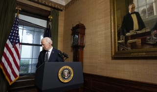 Joe Biden departs after announcing the withdrawal of troops