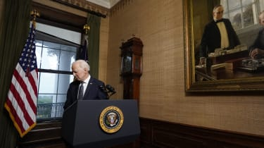 Joe Biden departs after announcing the withdrawal of troops