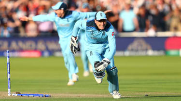 Jos Buttler celebrates England's win over New Zealand in the Cricket World Cup final at Lord's