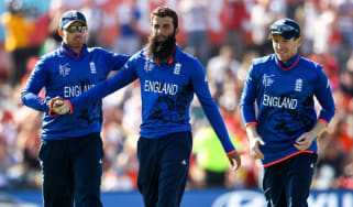 Moeen Ali with his England teammates
