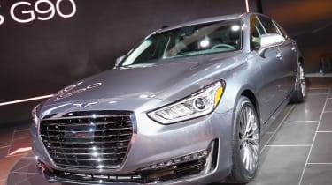 DETROIT, MI - JANUARY 11:Genesis introduces the 2017 G90 at the North American International Auto Show on January 11, 2016 in Detroit, Michigan. Genesis is a luxury brand of The Hyundai Motor