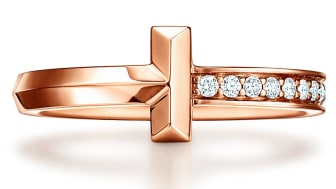 Tiffany T1 ring in rose gold with diamonds (Tiffany & Co)