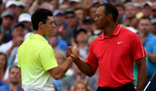 Golf stars Rory McIlroy and Tiger Woods